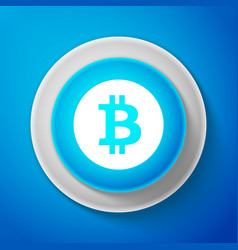 white cryptocurrency coin bitcoin icon isolated vector image