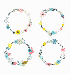Wreath with pastel flowers vector