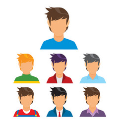 young man avatar collection vector image