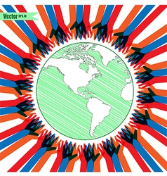 hands take care of cultural earth vector image vector image