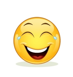 Laughing emoticon with tears of joy vector image vector image