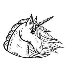 unicorn head hand drawn isolated on vector image