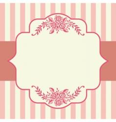 vintage roses pink frame vector image