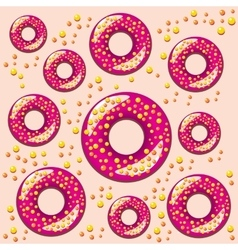 color seamless pattern with donuts vector image vector image