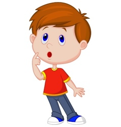 Cute boy cartoon thinking vector image vector image