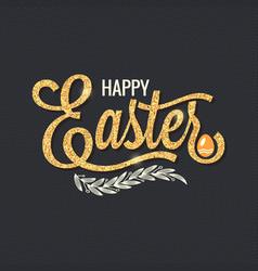 easter vintage gold lettering design background vector image