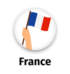 france flag in hand round icon vector image vector image