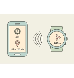 Smartwatch and smartphone communication vector image vector image