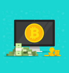 bitcoin mining concept and paper money exchange vector image