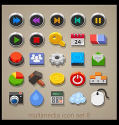 multimedia icon set-6 vector image vector image