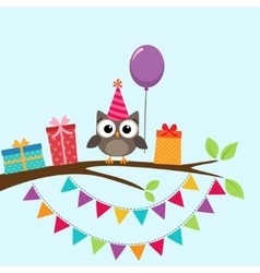 Party owl card vector image vector image