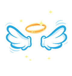 white angel wings and glowing golden halo isolated vector image