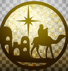 Adoration of the Magi silhouette icon gold on gray vector image vector image