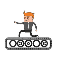 color image cartoon business man riding an belt vector image