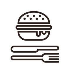 hamburger fork and knife vector image vector image