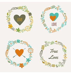 set of colorful floral frames vector image