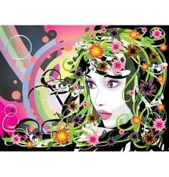 Summer girl with flowers vector image vector image