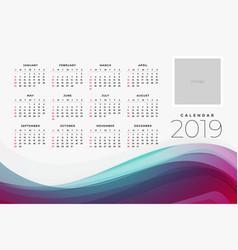 2019 calendar of the yar design template vector image