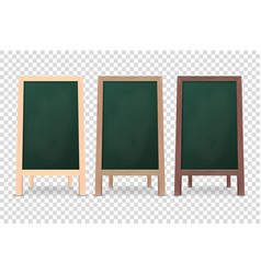 3d realistic blank wooden chalk green board vector image