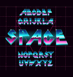80 s retro alphabet font vector