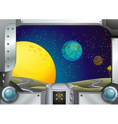 A metal frame with a view of the outerspace vector image