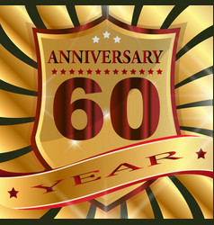 anniversary 60 th label with ribbon vector image