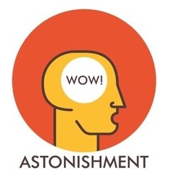 Astonishment Wow Line icon with flat design vector