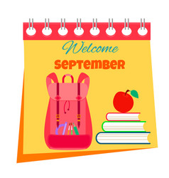 Back to school calendar bright background vector