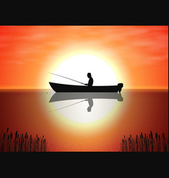 background fisherman on boat sunset vector image