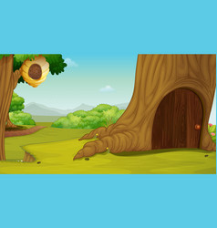Background scene with house in tree vector