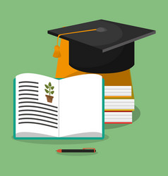 biology books hat graduation vector image