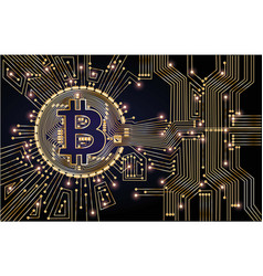bitcoin chips on black background with gold color vector image