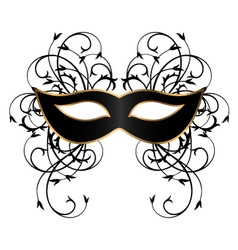 black carnival mask with ornament vector image