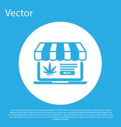 blue laptop and medical marijuana or cannabis leaf vector image