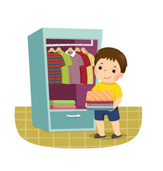 boy putting stack folded clothes in closet vector image