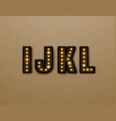 Bulb light font on wood pattern vector