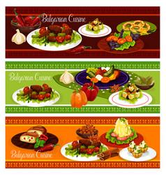 Bulgarian cuisine restaurant banner of lunch menu vector