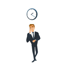businessman with wrist watch talking on mobile vector image