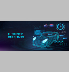 Car service future with hud interface vector