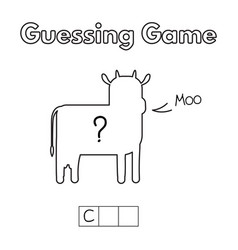 cartoon cow guessing game vector image