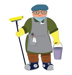 Cartoon woman in yellow gloves with floor mop vector
