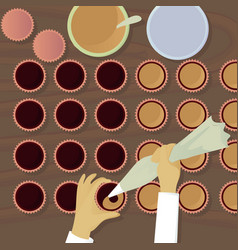 Chocolatiers candy fills cream top view vector