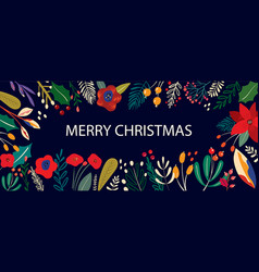 christmas floral banner vector image