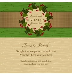 Christmas invitation green and beige vector