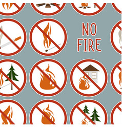Collection no fire icons pattern vector