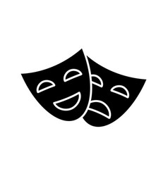 Comedy and tragedy masks glyph icon vector