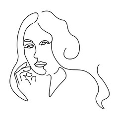 continuous lines sketch portrait a woman and vector image