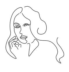 Continuous lines sketch portrait a woman vector