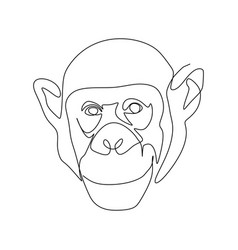 continuous one line drawing a chimpanzee vector image