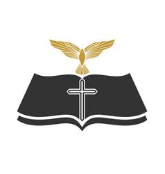 Cross jesus christ bible and dove vector
